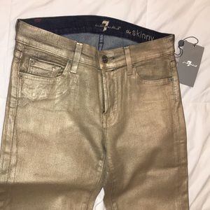 Gold metallic 7 for all mankind jeans size 28